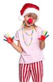 Petite fille dans le chapeau de Santa Image libre de droits