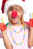 Petite fille dans le chapeau de Santa Photos stock