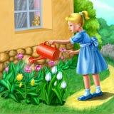 Petite fille dans le jardin Photo libre de droits