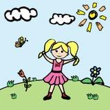 Petite fille dans le pré de fleur Photographie stock