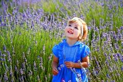 Petite fille dans un domaine de lavande Photographie stock libre de droits