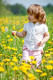Petite fille dans un pré Images libres de droits