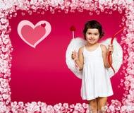 Petite fille de cupidon Photos stock
