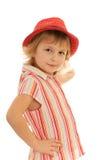 Petite fille de mode dans le chemisier rayé Photos libres de droits