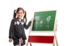 Petite fille de sourire sur un panneau Images libres de droits
