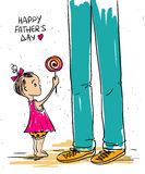 Petite fille donnant la lucette à son père Photos libres de droits