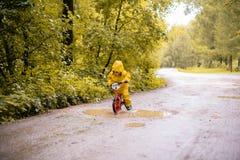 Petite fille en parc d'automne sur un vélo près d'un magma Photo stock
