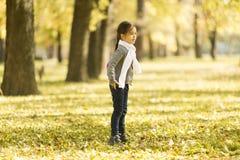 Petite fille en stationnement d'automne Photos libres de droits