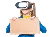 Petite fille en verres de VR Photographie stock