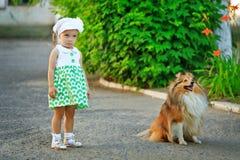 Petite fille et chien marchant en parc Photos stock