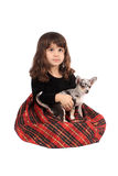 Petite fille et chiwawa Photographie stock