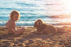 Petite fille et cocker d'or sur la plage Image libre de droits