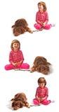 Petite fille et crabot - ramassage Photo libre de droits