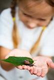 Petite fille et escargot Photo libre de droits