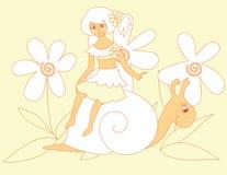 Petite fille et escargot mignons Images stock