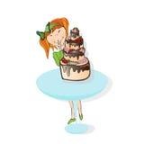 Petite fille et gâteau Photo stock