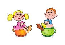 Petite fille et garçon Illustration Libre de Droits