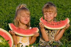Petite fille et garçon avec la pastèque Photographie stock libre de droits