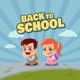 Petite fille et garçon heureux de nouveau à l'école Illustration Libre de Droits