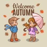 Petite fille et garçon heureux en automne Illustration Stock