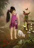 Petite fille et goatling Images stock