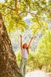 Petite fille et grand arbre Images libres de droits
