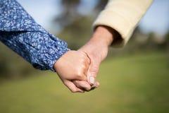 Petite-fille et grand-mère tenant des mains dans le jardin Photographie stock
