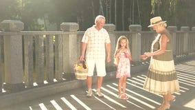 Petite-fille et grands-parents ayant l'amusement dehors banque de vidéos