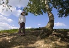 Petite fille et l'arbre images stock