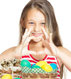 Petite fille et Pâques Image libre de droits