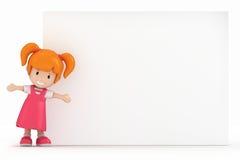 Petite fille et panneau blanc Photo libre de droits