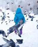 Petite fille et pigeons mignons Photographie stock