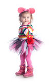 Petite fille gaie sur un fond blanc Photographie stock libre de droits