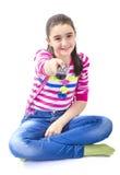 Petite fille heureuse avec à télécommande photos libres de droits