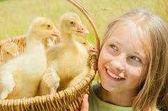 Petite fille heureuse avec des oisons photos libres de droits