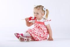 Petite fille heureuse avec la lucette Images libres de droits