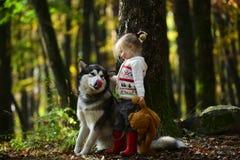 Petite fille heureuse jouant avec le grand chien dans la forêt en automne Photo libre de droits