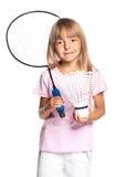 Petite fille jouant au badminton Images stock