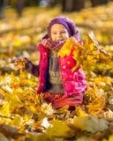 Petite fille jouant avec des lames d'automne Photographie stock