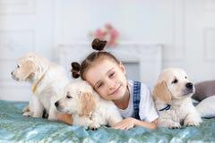 Petite fille jouant avec le chien d'arrêt de chiots Photographie stock
