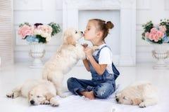 Petite fille jouant avec le chien d'arrêt de chiots Photos libres de droits