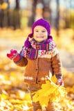 Petite fille jouant en stationnement d'automne Images stock