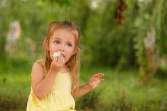 Petite fille mangeant la sucrerie de coton image libre de droits