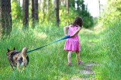 Petite fille marchant avec le chien Images stock