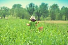 Petite fille marchant sur le champ vert Photographie stock