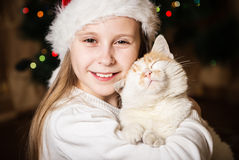 Petite fille mignonne étreignant son chat dans Noël Image stock