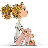 Petite fille mignonne. illustration stock