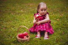 Petite fille mignonne avec des pommes dans une herbe verte Image libre de droits