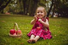 Petite fille mignonne avec des pommes dans une herbe verte Images stock
