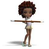 Petite fille mignonne d'école de dessin animé avec le cheveu bouclé. illustration libre de droits